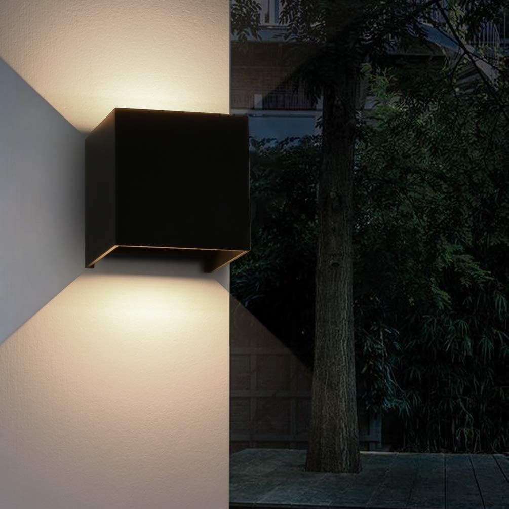 Black Aurora Outdoor LED Wall Light Up or Down 240v IP54. 9w