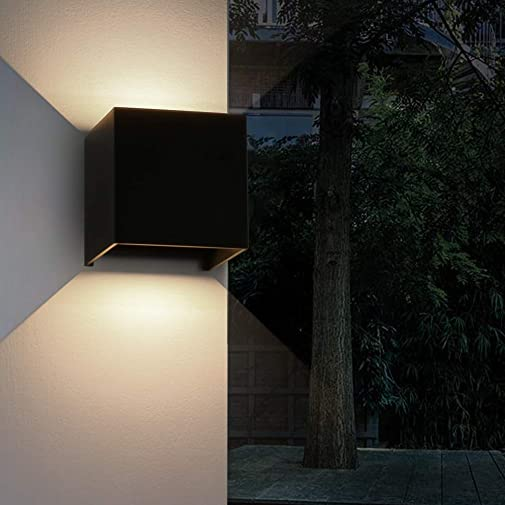 Aipsun 12W Outdoors LED Square Wall Light IP54 Waterproof Wall Sconce Fixture up and Down Adjustable Design for Outside Garden Hotel Park Gallery Exterior Lighting Decoration Black,3000K Warm White