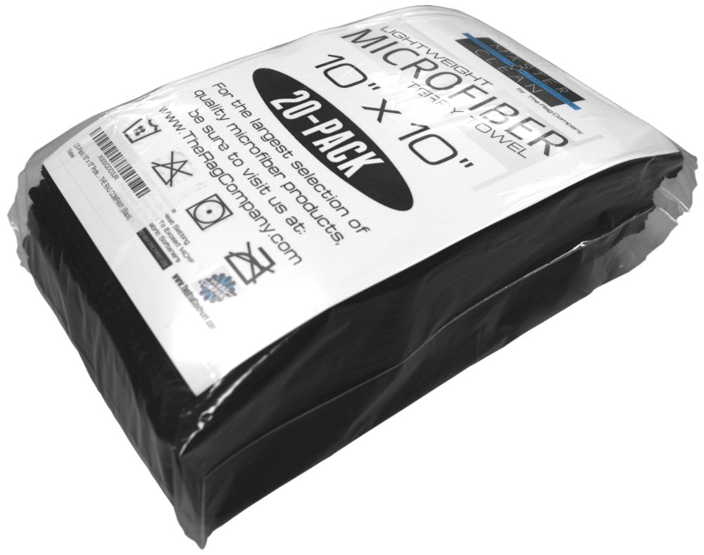 (20-Pack) 10 in. x 10 in. All-Purpose Microfiber HIGHLY ABSORBENT, LINT-FREE, STREAK-FREE Cleaning Towels - THE RAG COMPANY (Black) 4787923