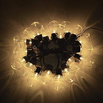 Bombilla decorativa valla de jardín iluminación de exterior lámpara de pared luz de porche LED @Warm_White - Clear_110V_US_Plug_2.5M_Length: Amazon.es: Iluminación