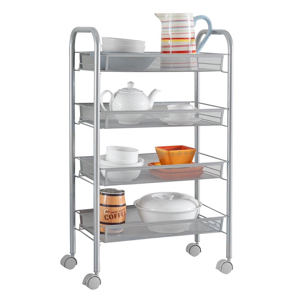 Amazon.com: LANGRIA Bathroom Shelving Utility Cart (4-Tier Silver ...