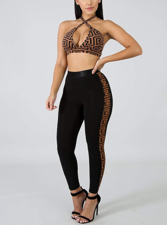 AEL Womens High Waist Print Shorts Tracksuit Pants Bodycon Jumpsuit Set 2 Piece Outfits