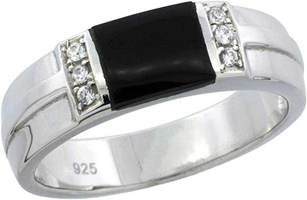 Sterling Silver Cubic Zirconia Mens Wedding Band Ring Black Onyx, 1/4 inch Wide