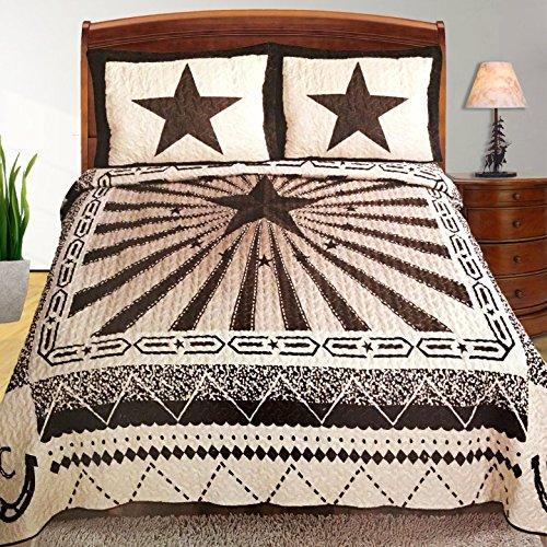 Western Peak Western Pattern Design Texas Lone Star Rays Horse Shoe Cabin Lodge Luxury Quilt Bedspread Coverlet Comforter 3 Piece Beige Brown Set (Queen)