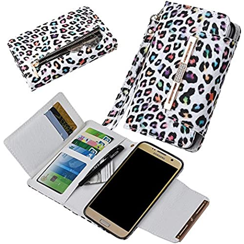 Samsung S7 Edge Case, xhorizon (TM) FLK [Upgraded] 2 in 1 Colorful Leopard Leather Wallet Crystal Button Closure Magnetic Car Mount Phone Holder Compatible Folio Sales