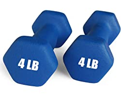 Portzon Set of 2 Neoprene Dumbbell Hand Weights, Anti-Slip, Anti-roll, Hex Shape Colorful