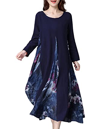 2478f68efc4e StyleDome Women s Vintage Printed Patchwork Casual Loose Cotton Linen Long  Sleeve Kaftan Long Maxi Dress Navy