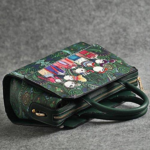 YouPue Taschen Damen Handtaschen PU Leder Handtasche Set Taschen Tote Leder Schultertasche Geldbeutel Beutel Geldbörsen Grün