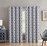 HLC.ME Ogee Trellis Print Blackout Grommet Curtain Panels for Living Room - 99% Light Blocking - Thermal Insulated Decorative Pair for Privacy - Set of 2 (52' W x 96' L, Platinum White/Navy Blue)