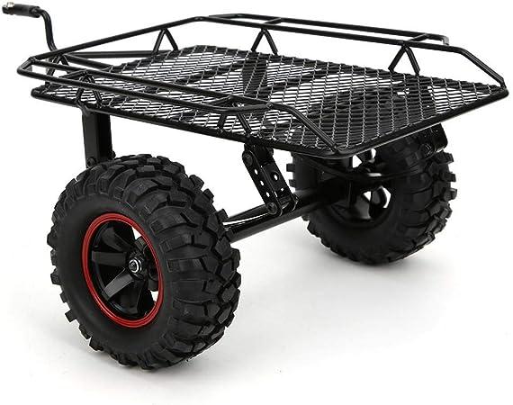 Remolque RC, Kit de Remolque de Plataforma Plana del Eje Eje mecanizado Remolque de Barco Modelo de Metal Remolque pequeño Apto para D90 CC01 1/10 RC ...