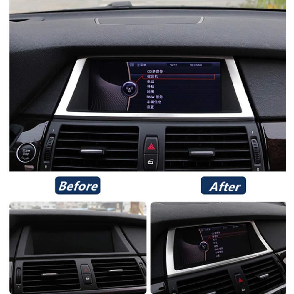 Gnnlor Rivestimento Decorativo per Telaio di Navigazione in Acciaio Inox Accessori per Auto per BMW X5 X6 E70 E71