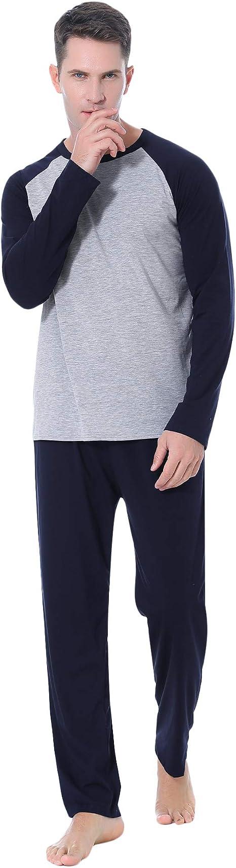 Aibrou Pijamas Hombre Invierno Manga Larga Conjuntos de Pijama para Hombre Algodón Ropa de Domir 2 Piezas Pantalones Largo: Amazon.es: Ropa y accesorios