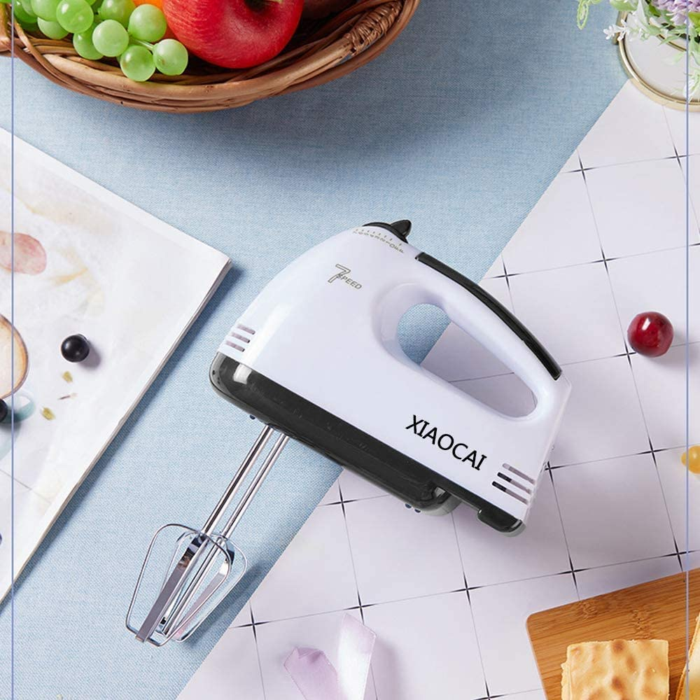 Electric Hand Mixer 2Dough Hooks,1Whisk,2Beaters ,for Making Cookies,Cakes Batters,/&More Dough Leak-Proof Stainless Steel 7 Speed Egg Mixer with Easy Button /& 5 Attachments