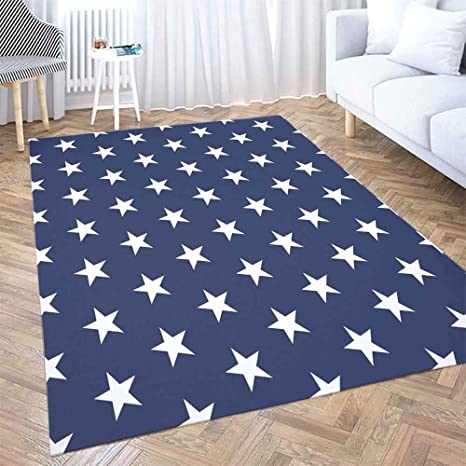 Soft Area Rug Shorping 3x5 Christmas Plaid Area Rug Merry Christmas Flower Door Usa Flag Pattern White Stars Blue Background Memorial Day Farmhouse Rug Space Area Rug Rugs For Living Room Home