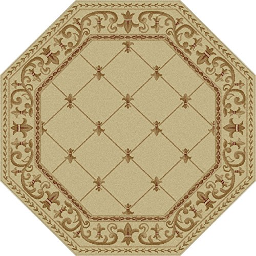 Universal Rugs Traditional Border 5 ft. 3 in. Octagon Area Rug , Ivory