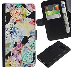 KingStore / Leather Etui en cuir / Samsung Galaxy S6 / Flor Vignette Arte Modelo en colores pastel