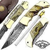 Cheap Ram Horn 5.5″ Custom Handmade Damascus Steel Double Brass Bloster With Sharpening Rod Folding Pocket Knife Back Lock 100% Prime Quality