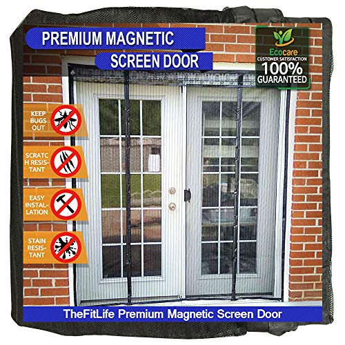 - TheFitLife Double Door Magnetic Screen - Mesh Curtain with Full Frame Hook & Loop Powerful Magnets, Snap Shut Automatically for Patio, Sliding Or Large Door, Black Fits Doors up to 60''x80'' Max