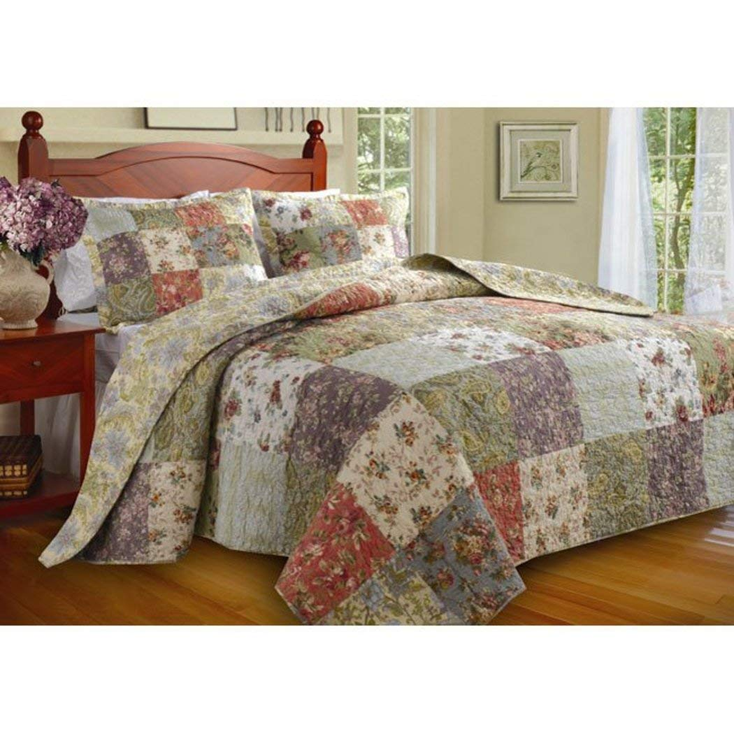 3 Piece Oversized Green Purple Patchwork Bedspread King Set, Quilted French Country Damask Floral Rustic Flowers Pattern Prairie Themed Farmhouse Charm Cottage Oversize to The Floor Checked, Cotton by D.I.D.