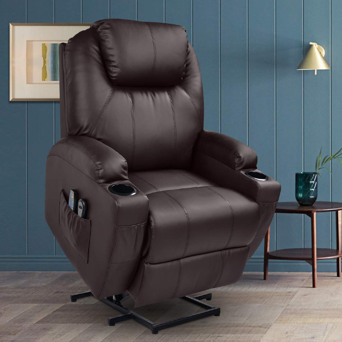 MAGIC UNION Power Lift Massage Recliner Faux leather Heated Vibration with Remote Controls Wheels for Elderly Catnap Sofa- Brown by MAGIC UNION