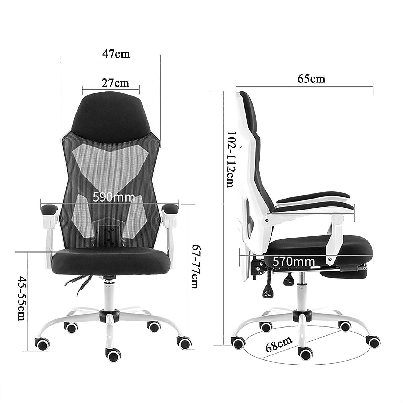 GAOPANG kontorsstol hög rygg datorstol nät skrivbordsstol verkställande ergonomisk justerbar svängbar uppgift stol med nackstöd och ryggstöd Svart