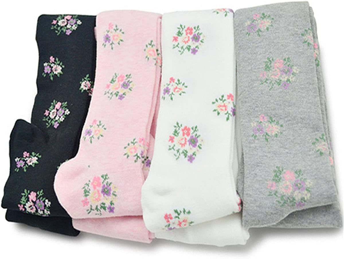 Little Girls Florals Combed Cotton Thicken Tights Leggings Panties