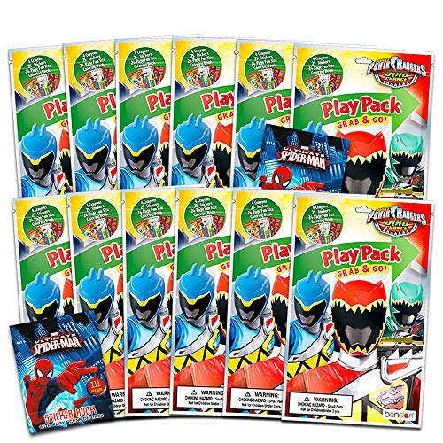 Power Rangers Dino Charge Party Favors Pack ~ Bundle of 12 Power Rangers Dino Charge Play Packs Filled with Stickers, Coloring Books, and Crayons with Bonus Stickers (Power Rangers Party Supplies)