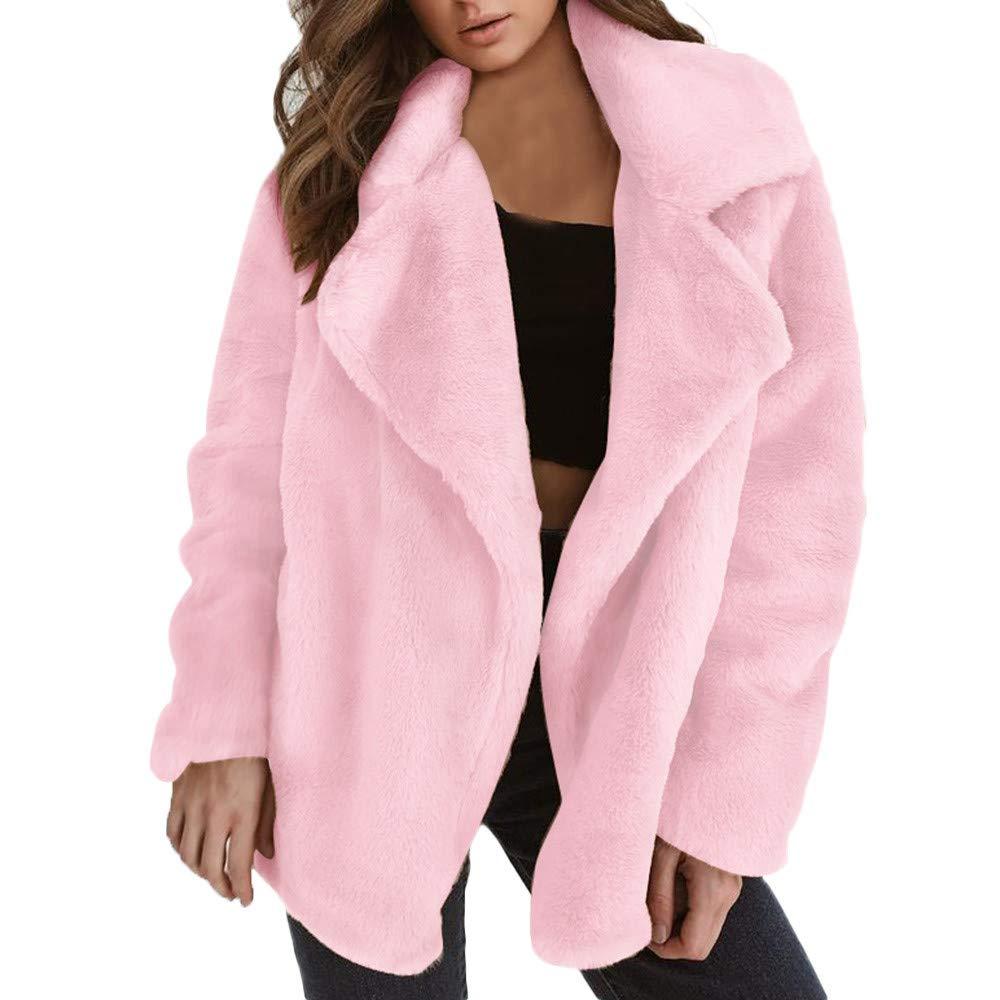 Makulas Womens Faux Fur Long Sleeve Coats Winter Sexy Warm Loose Cardigan Big Collar Coat Jacket Overcoat Parka Outwear