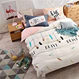 WarmGo Home Bedding Set for Adult Kids Dream Feather Pattern Duvet Cover Set 4 Piece Full/Queen Size without Comforter