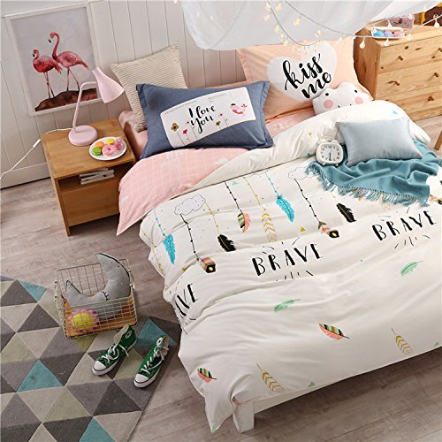 WarmGo Home Bedding Set for Adult Kids Dream Feather Pattern Duvet Cover Set 4 Piece Full/Queen Size without Comforter by WarmGo
