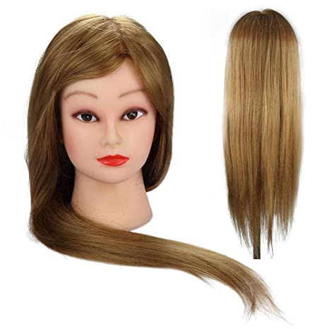 24 Inch 50% Real Human Hair Blonde Straight Hair Training Head Hairdressing Practice Training Mannequin Hair Model Doll Head Home