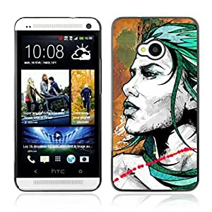 Colorful Printed Hard Protective Back Case Cover Shell Skin for HTC One (M7) ( Cool Woman Tattoo Art )