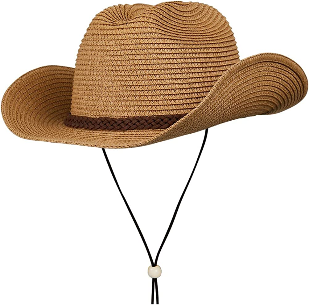Straw Cowboy Hat Summer Beach Panama Sun Hats Men Women Wide Brim Cowgirl Fedora Western Theme Party At Amazon Men S Clothing Store