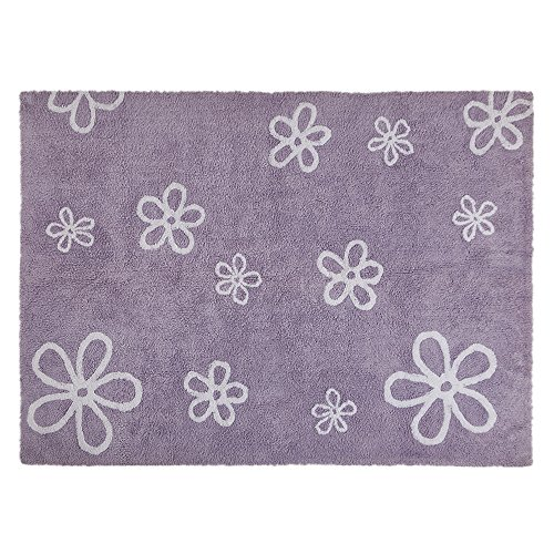 Lorena Canals Purple Flowers Washable Children's Rug - Machine Washable, Perfect for the Nursery - Handmade from 100% Natural Cotton and Non-Toxic Dyes by Lorena Canals