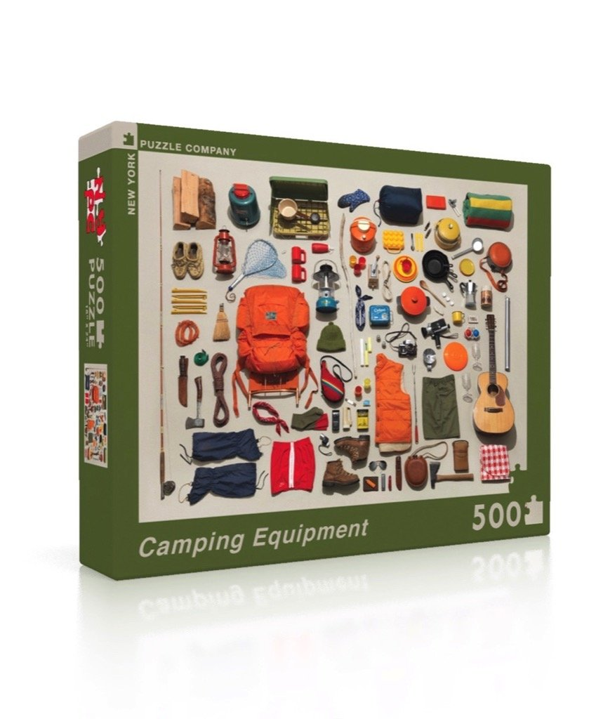 New York Puzzle Company Jim Golden Camping Equipment 500 Piece Jigsaw Puzzle