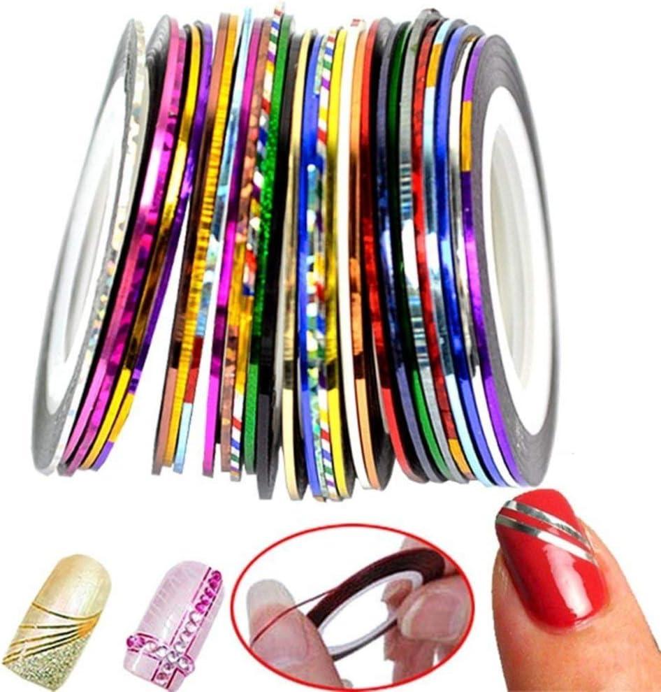 30 Pcs/Set Cinta Nail Art Pegatinas Línea de Multicolour