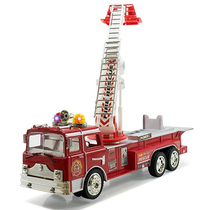 Amazon Com  Bump Go Rescue Fire Engine Truck Kids Toy With Extending Ladder Lights Siren Sounds Toys Games