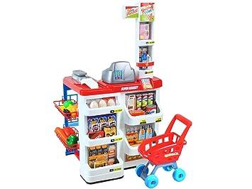 MALATEC Supermercado Tienda de Juguetes Mostrador Carrito De La Compra Tienda de Alimentos con Carrito de la Compra 6747: Amazon.es: Juguetes y juegos