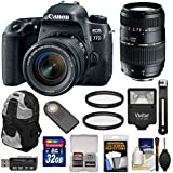 Canon EOS 77D Wi-Fi Digital SLR Camera & EF-S 18-55mm is STM Lens 70-300mm Lens + 32GB Card + Backpack + Flash + Kit