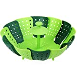 GuDoQi® Stackable Pp Silicone Steamer Folding Non-Scratch Vegetable Basket Bowl Non-Scratch Green