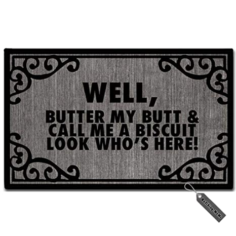 Amazon com : MsMr Doormat Funny Doormat Butter My Butt