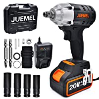 Amazon.com deals on Juemel 20V 4Ah 2-Speed 1/2-in 1/4-in Chuck Cordless Impact Wrench
