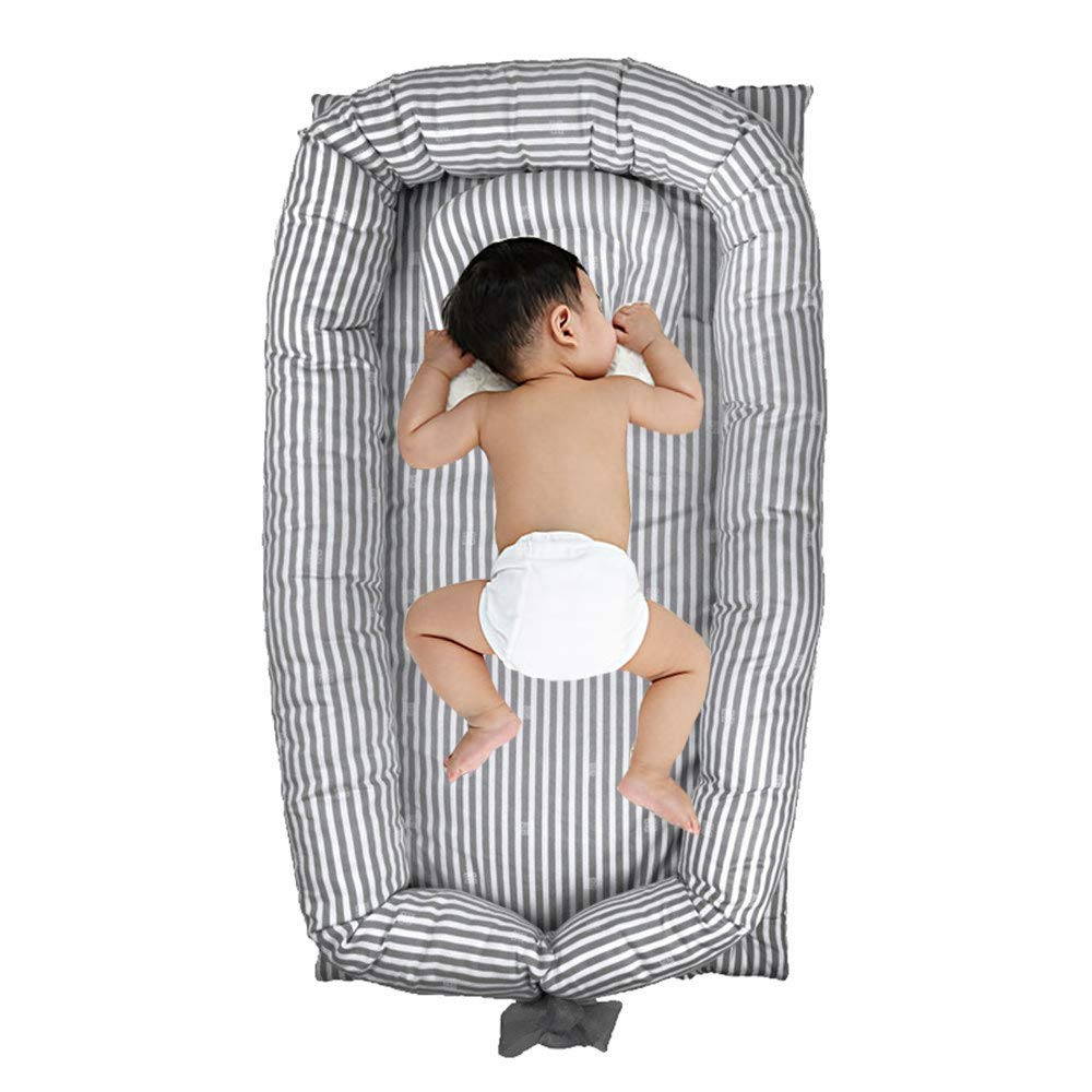 Windream Baby Bassinet Grey Striped-Baby Lounger Breathable, Washable, Portable and Lightweight Perfect for Cuddling, Lounging, Co Sleeping, Napping and Travel 0-24 Months
