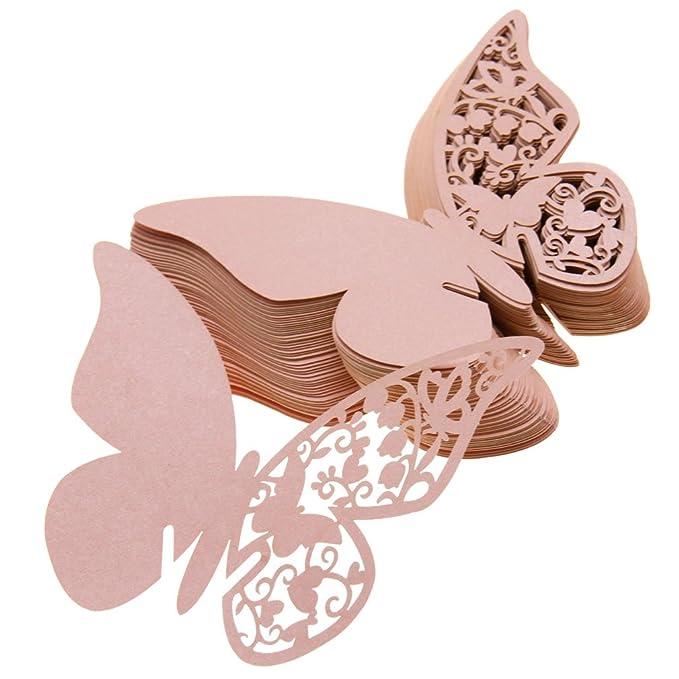 50pcs Schmetterling Form Platzkarten Tischkärtchen Glasanhänger Papier Rosa