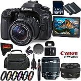Canon EOS 80D DSLR Camera + 18-55mm Lens + Canon EF 50mm f/1.4 USM Lens + 128GB Memory Card International Version