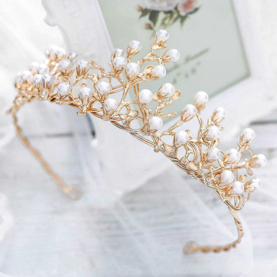 Edary Bridal Wedding Queen Crowns and Tiaras Gold Flower Bride Hair Accessories for Women