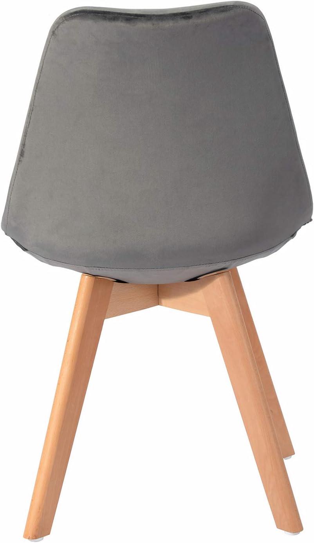 H.J WeDoo 1 x Esszimmerst/ühle mit Massivholz Buche Bein Retro Design Gepolsterter Stuhl K/üchenstuhl Holz Grau