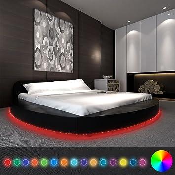 WEILANDEAL Cama con colchon y LED 180x200 Redonda Cuero Artificial Negra Camas Tira LED