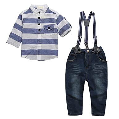 Cool Baby Boy Kids Clothes Set Striped Shirt Pants Suspenders