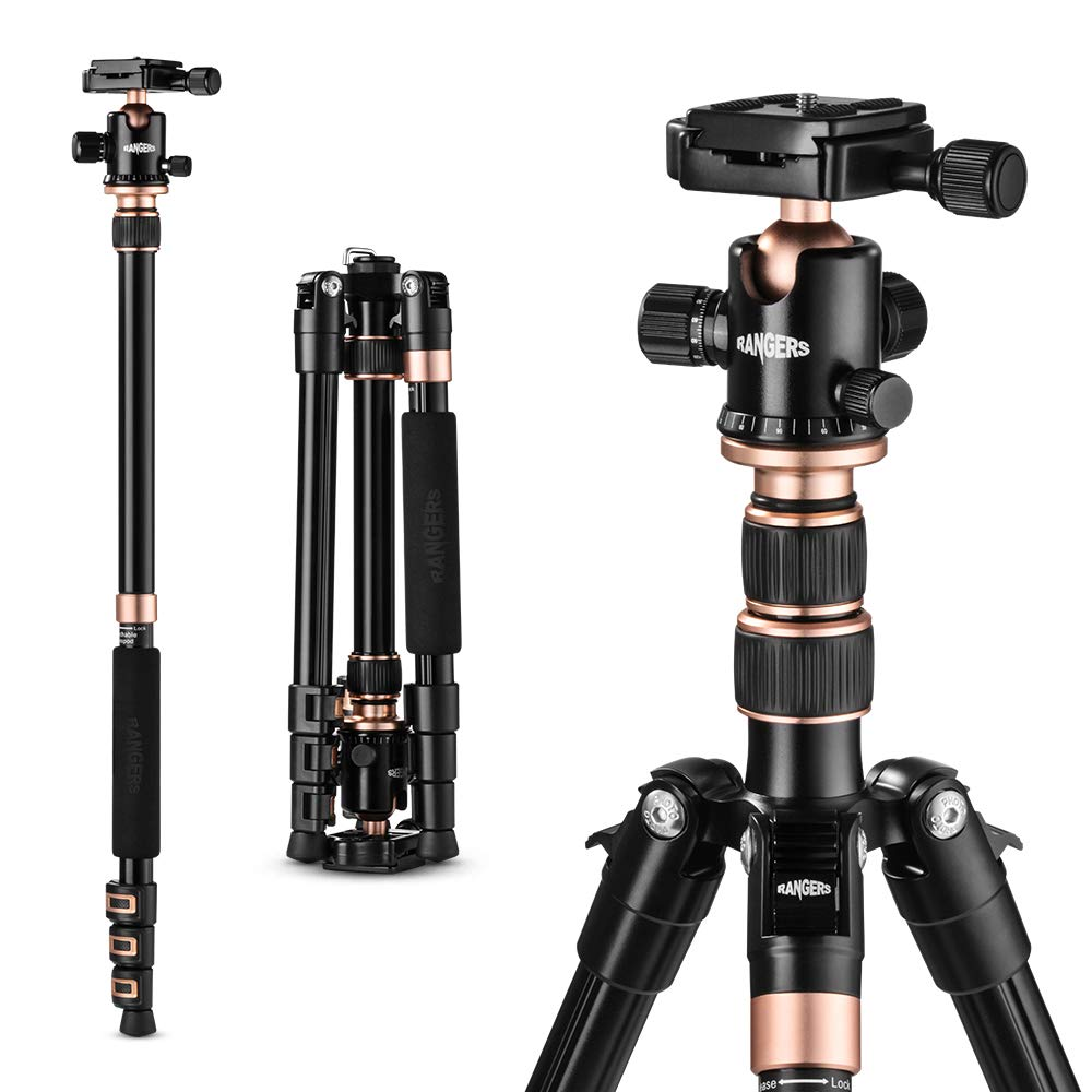 TYCKA Rangers 56� Compact Travel Tripod, Lightweight Aluminum Camera Tripod for DSLR Camera  with 360� Panorama Ball Head and Carry Bag